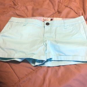 Teal low rise shortie shorts